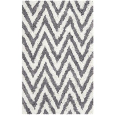Chevron Shag Ivory/Gray 3 ft. x 4 ft. Area Rug