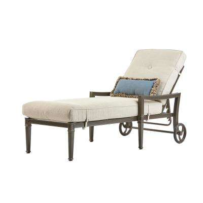Richmond Hill Aluminum Outdoor Patio Chaise Lounge with Hybrid Smoke Cushions