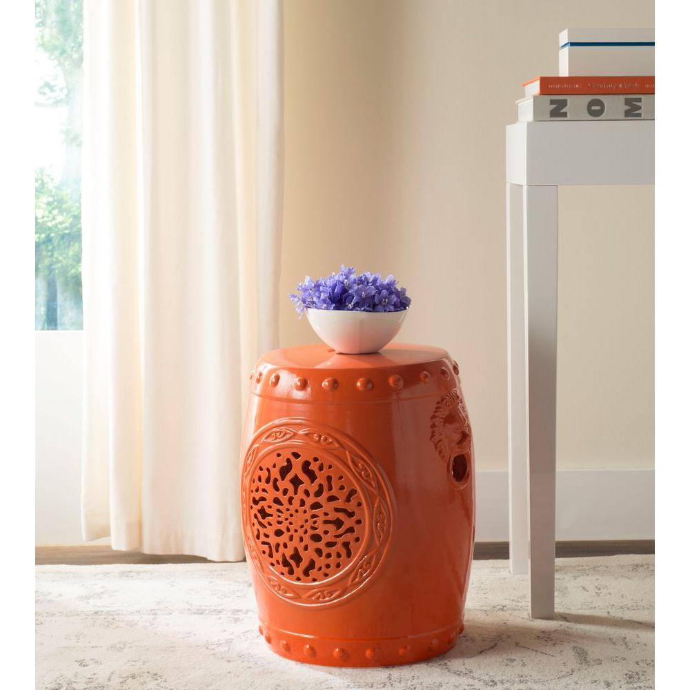 Safavieh Flower Drum Orange Garden Patio Stool