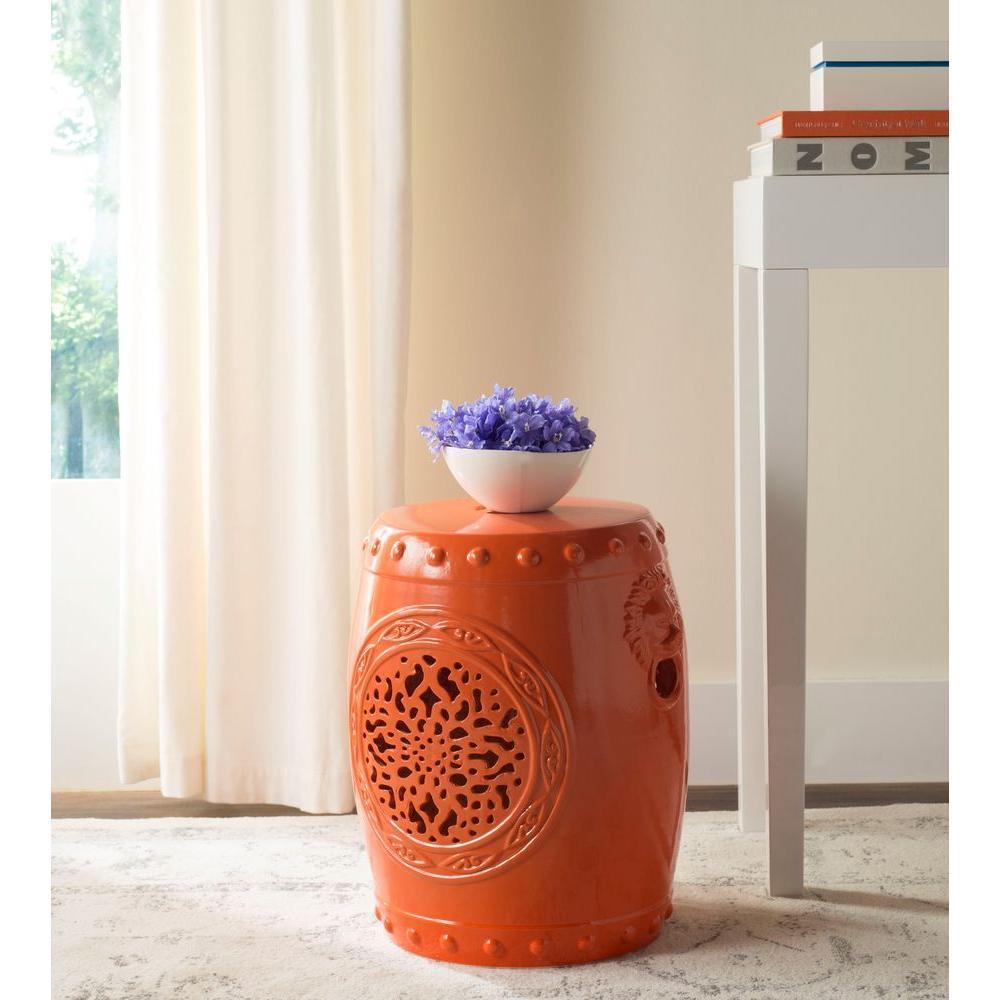 Flower Drum Orange Garden Patio Stool