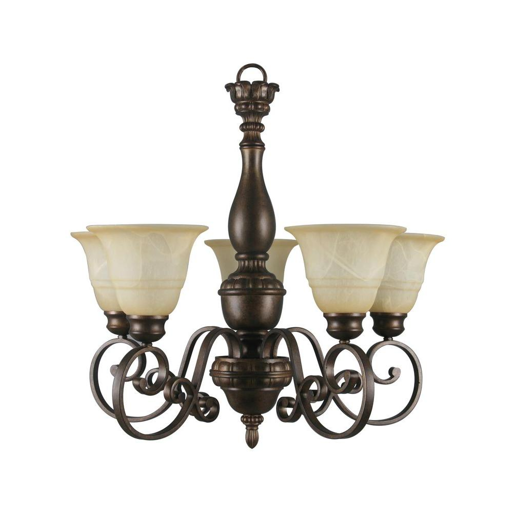 Hampton bay carina 5 light aged bronze chandelier with tea stained hampton bay carina 5 light aged bronze chandelier with tea stained glass shade 15670 the home depot mozeypictures Images