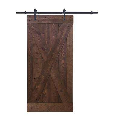 X Panel Knotty Pine Finished Wood Barn Door