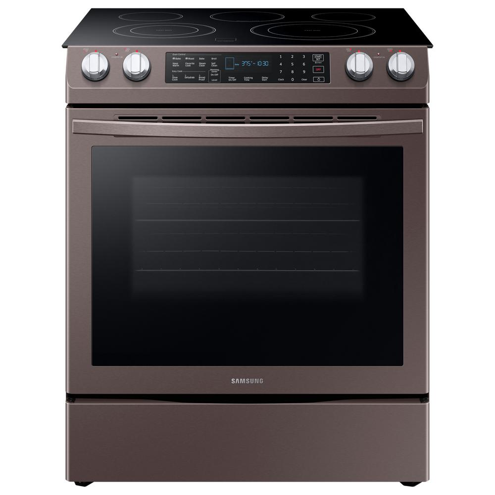 Samsung 5.8 cu. ft. Slide-In Electric Range with Self-Cleaning Dual Convection Oven in Tuscan Stainless Steel, Fingerprint Resistant Tuscan Stainless was $1699.0 now $943.2 (44.0% off)