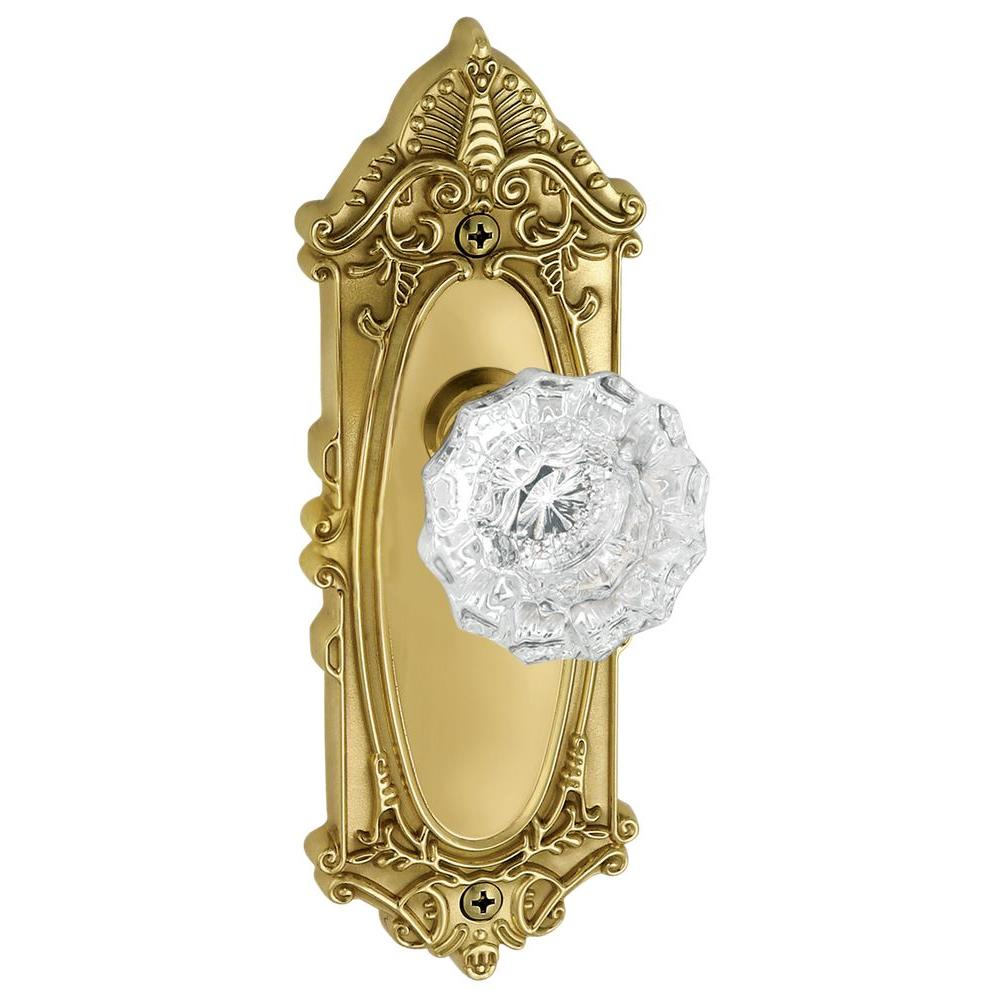 Grandeur Grande Victorian Lifetime Brass Plate with Privacy Versailles Crystal Knob