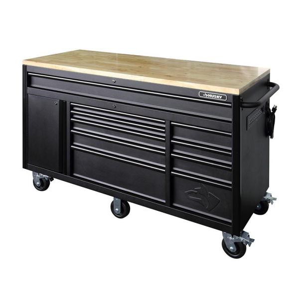 Husky Heavy Duty 60 In W 10 Drawer Deep Tool Chest Mobile Workbench In Matte Black Holc6010bb1m The Home Depot