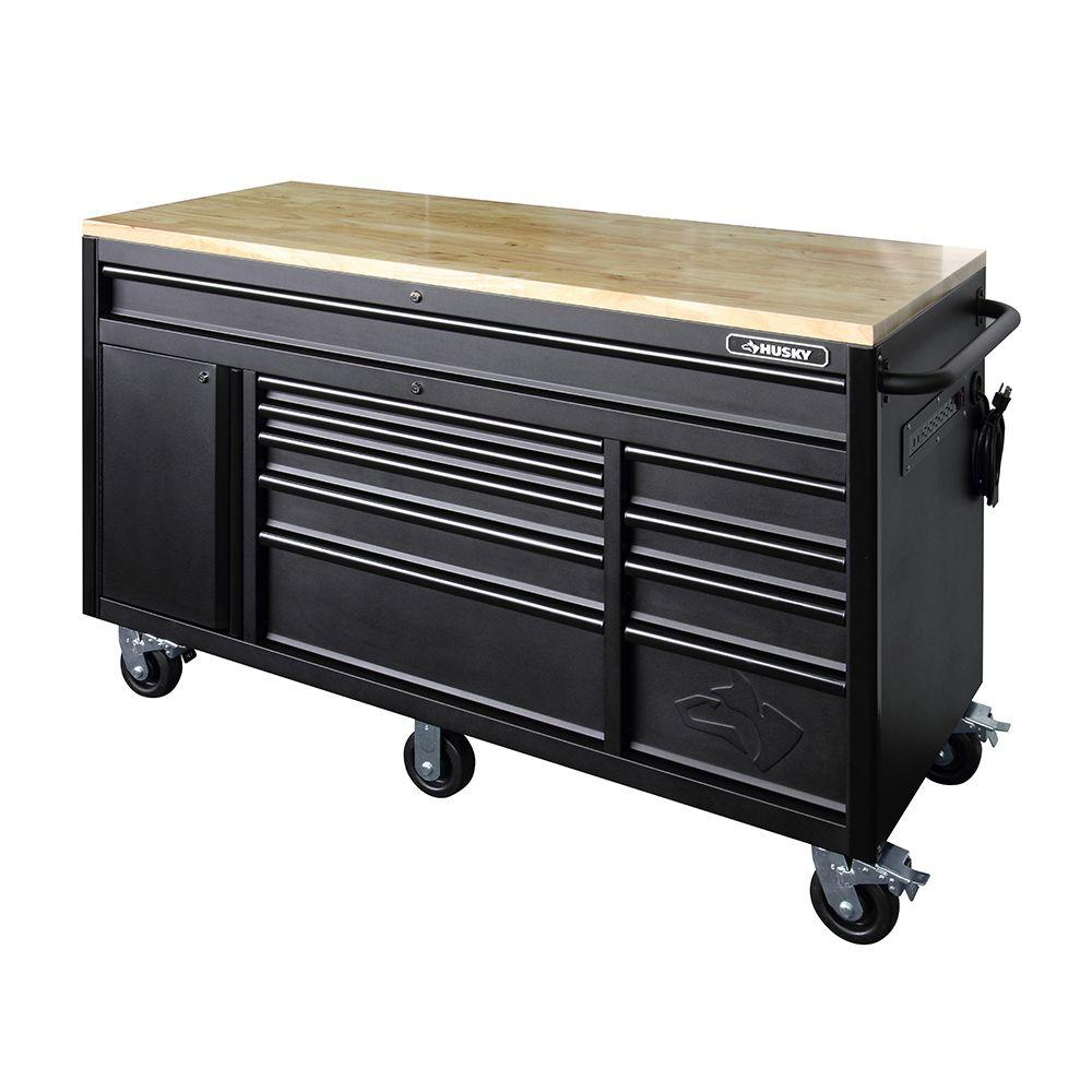 60.125 in. 10-Drawer Mobile Workbench, Textured Black Matte