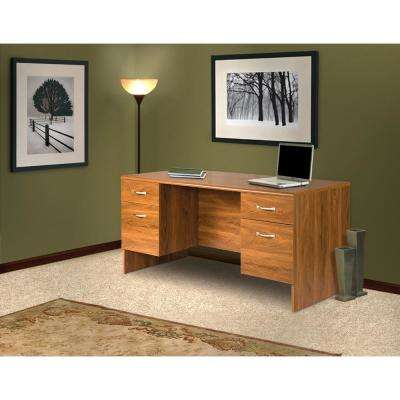 30 in. x 60 in. Brown Double Pedestal Executive Desk with 2-Box and 2-File Drawers