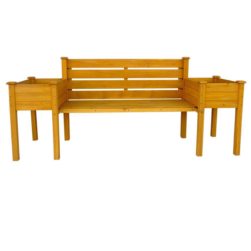 Leisure Season Wooden Medium Brown Patio Planter Bench Pbb7821 The Home Depot