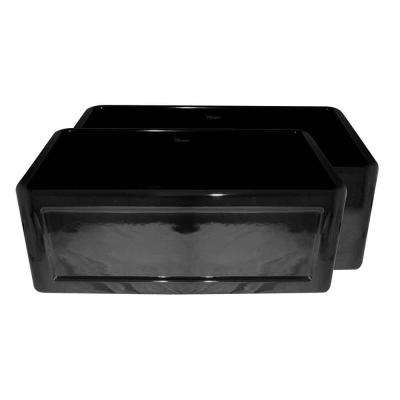Reversible All-in-One Apron Front Fireclay 27 in. Single Bowl Kitchen Sink in Black