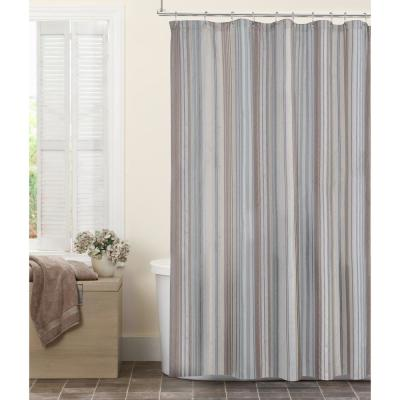 Jodie Stripe Fabric 72 in. x 72 in. Shower Curtain