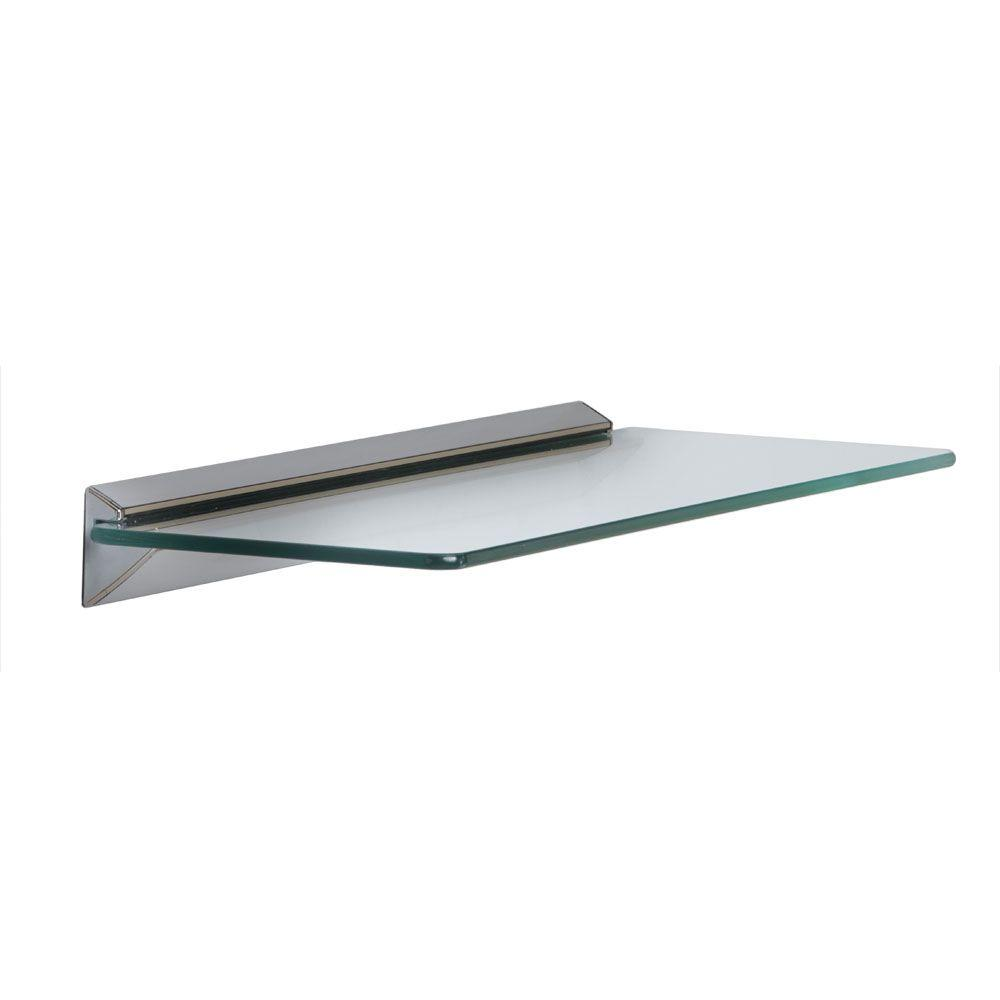 Knape & Vogt 18 in. W x 6 in. D Wall Mounted Chrome Glass Decorative ...
