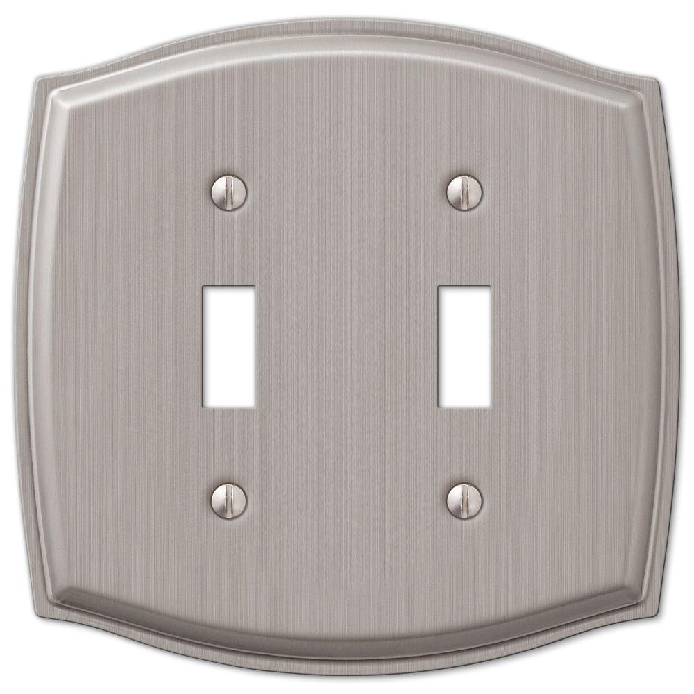 Vineyard 2 Toggle Wall Plate - Brushed Nickel Steel