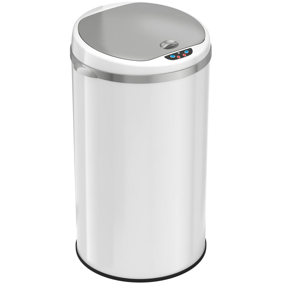 8 Gal. Matte Pearl White Touchless Round Motion Sensing Trash Can