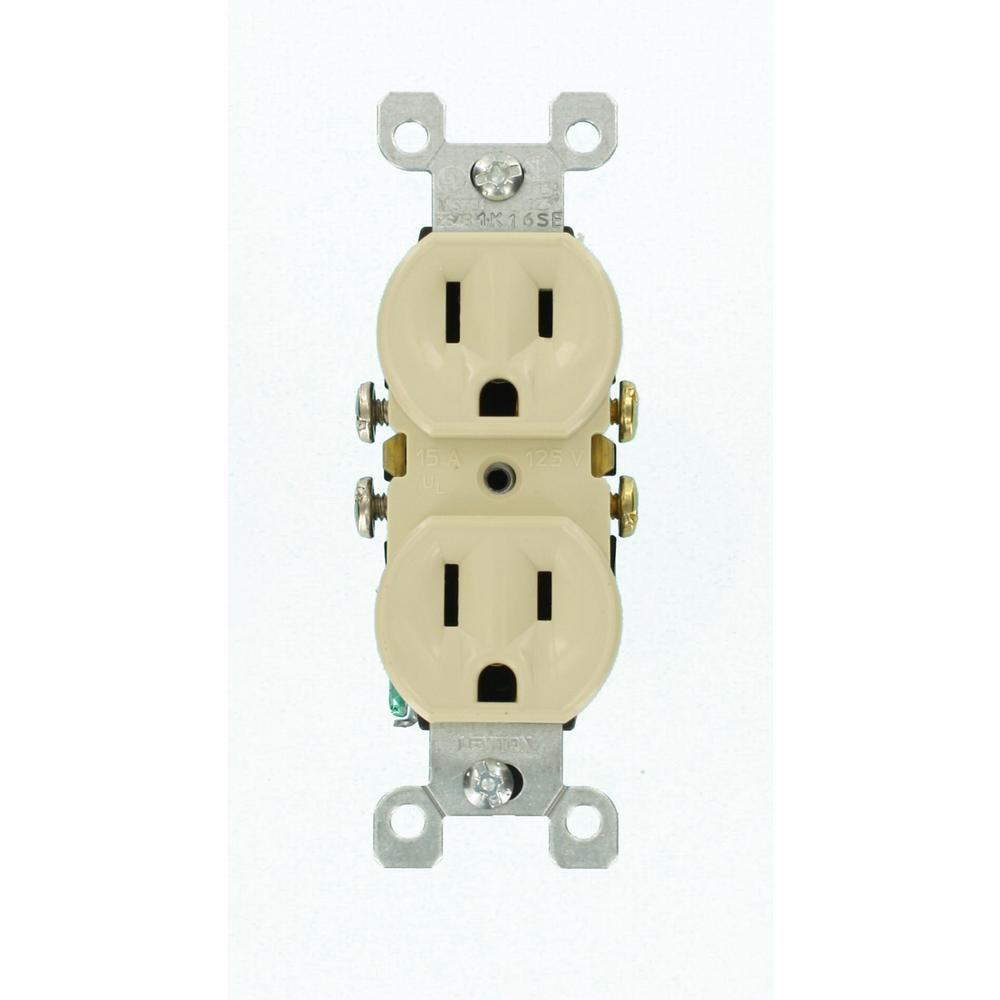 15 Amp Duplex Outlet, Ivory (10-Pack)