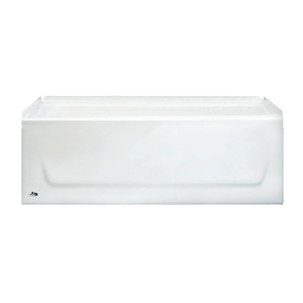 Kona 54 in. Right Drain Rectangular Alcove Soaking Bathtub in White