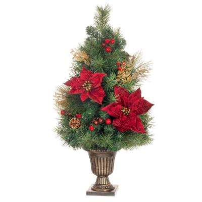 32 in. Gold Glitter Cedar and Mixed Pine Porch Tree with Burgundy Poinsettias