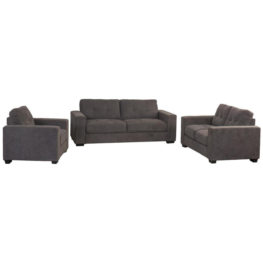 Club 3 Piece Tufted Grey Chenille Fabric Sofa Set