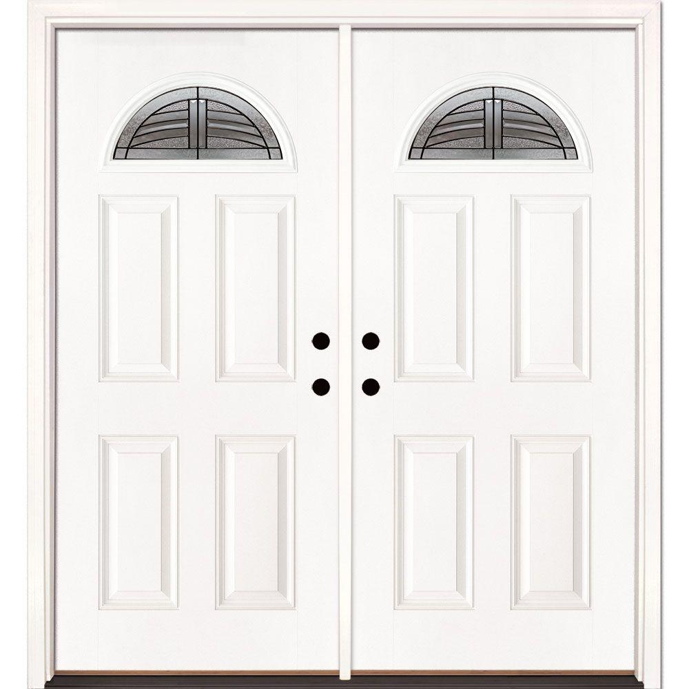 Feather River Doors 66 in. x 81.625 in. Rochester Patina Fan Lite Unfinished Smooth Right-Hand Inswing Fiberglass Double Prehung Front Door