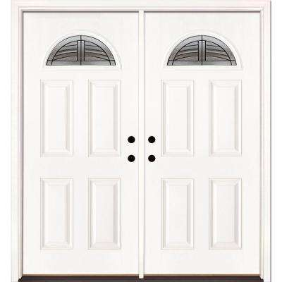 66 in. x 81.625 in. Rochester Patina Fan Lite Unfinished Smooth Right-Hand Inswing Fiberglass Double Prehung Front Door