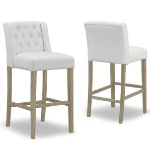 29 in. Aled Beige Fabric with Side Wings and Tufted Buttons  Bar Stool (Set of 2 )
