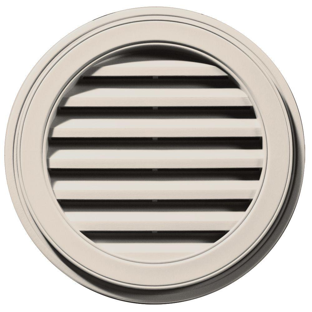 Builders Edge 22 in. Round Gable Vent in Almond
