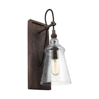 Loras 1-Light Dark Weathered Iron Wall Sconce