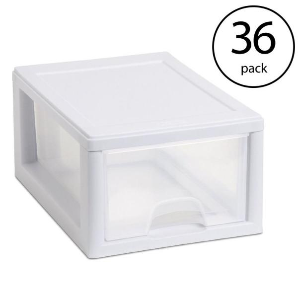 20518006 Stackable 8.875 in. x 6 in. Small Drawer White Frame and See-Through (36-Pack)