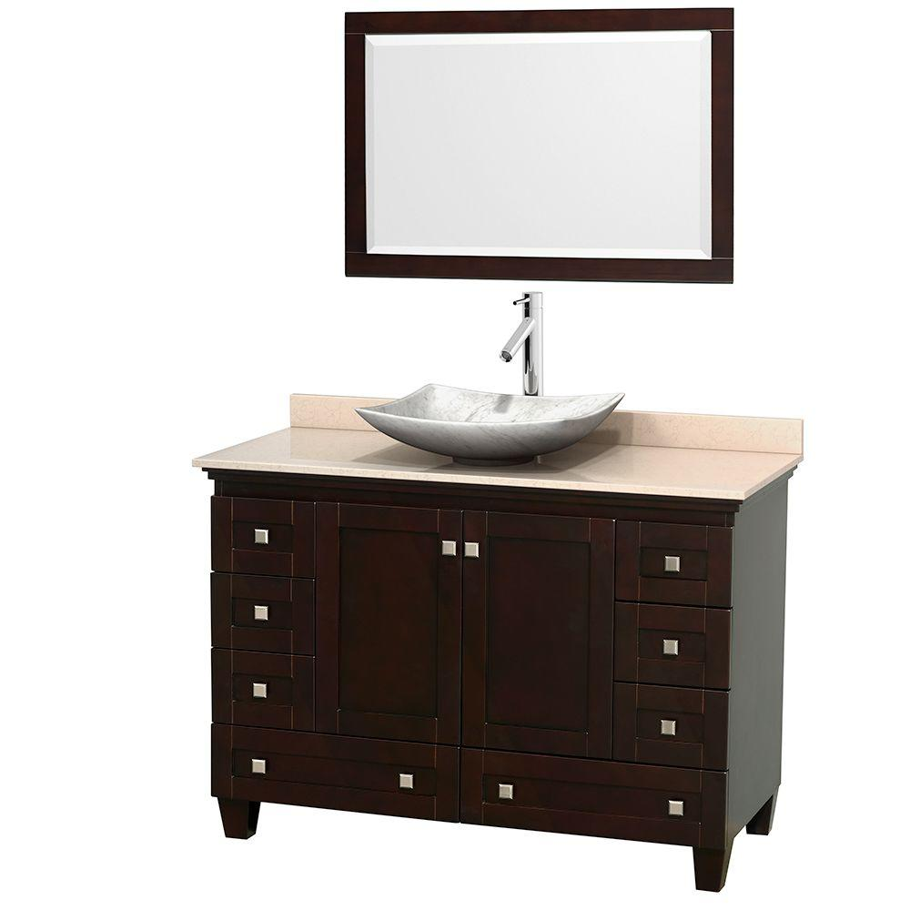 W Vanity In Espresso With Marble Vanity Top