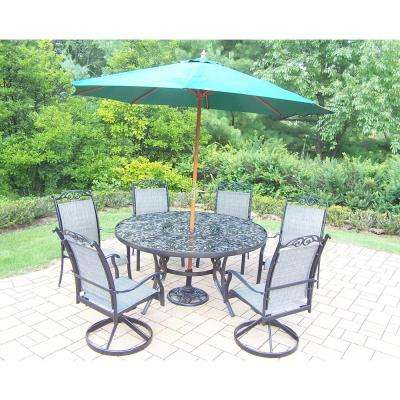 Black 9 Piece Aluminum Outdoor Dining Set And Green Umbrella