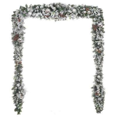17 ft. Unlit Snowy Garland with Plated Ball Ornaments, Pinecones and Mistletoe