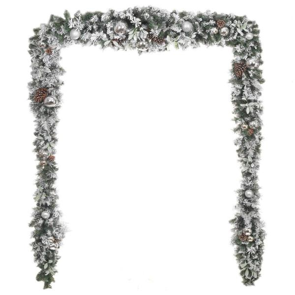 17 ft. Snowy Silver Pine Unlit  Garland with Plated Ball Ornaments, Pinecones and Mistletoe