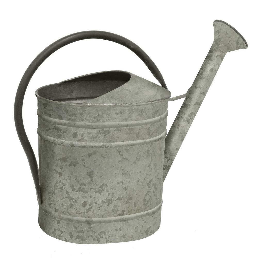 Galvanized Metal Watering Can, Gray