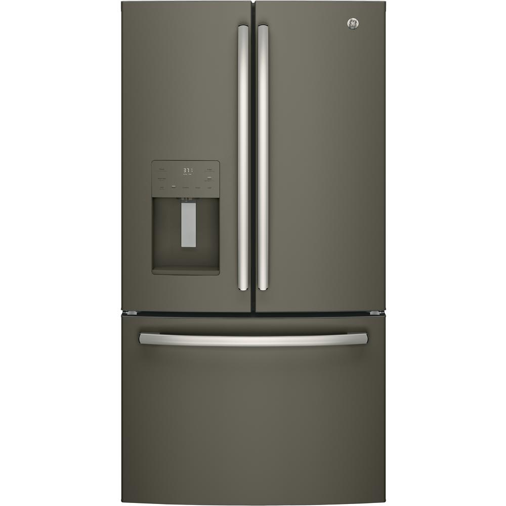 25.6 cu. ft. French-Door Refrigerator in Slate (Grey), Fingerprint Resistant and Energy Star GE appliances provide up-to-date technology and exceptional quality to simplify the way you live. With a timeless appearance, this family of appliances is ideal for your family. And, coming from one of the most trusted names in America, you know that this entire selection of appliances is as advanced as it is practical. Color: Slate.