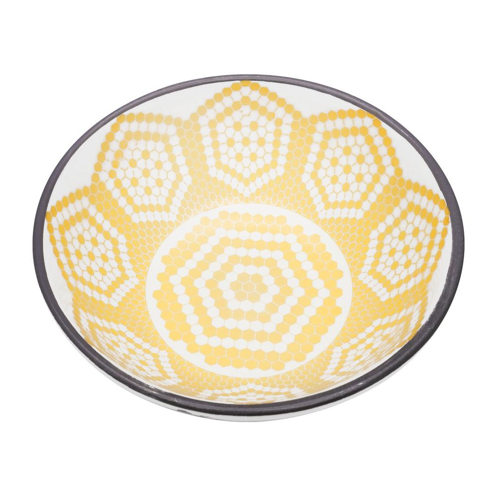 Manhattan Comfort Full Bowl 20.29 oz. Black and Yellow Earthenware Soup Bowls (Set of 6) was $89.99 now $56.63 (37.0% off)