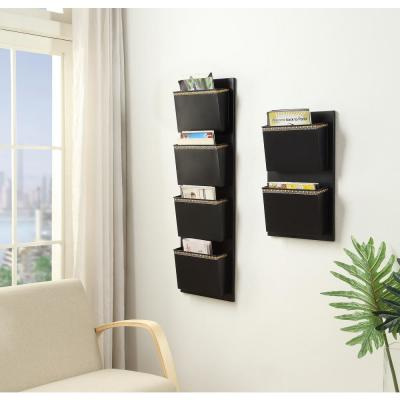 Four Slot Black and Gold Dots Wall Mailbox