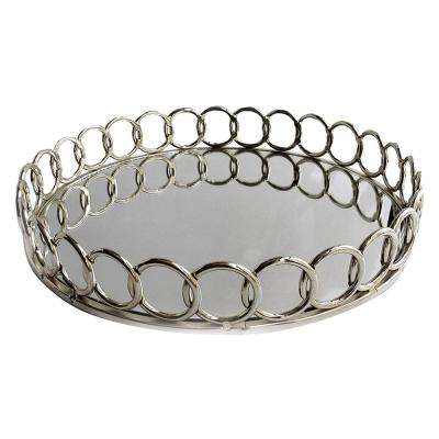 15 in. x 3.5 in. Looped Silver Metal and Glass Round Serving Tray