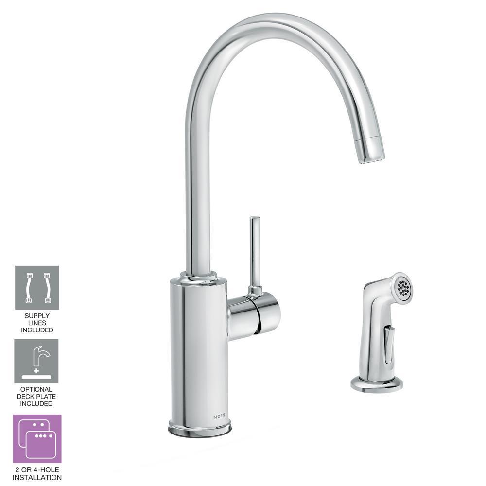 Moen Sombra Single Handle Standard Kitchen Faucet With Side Sprayer