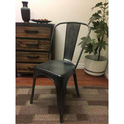 Lux Home Burnished Steel Metal Retro Side Chair (Set of 4)