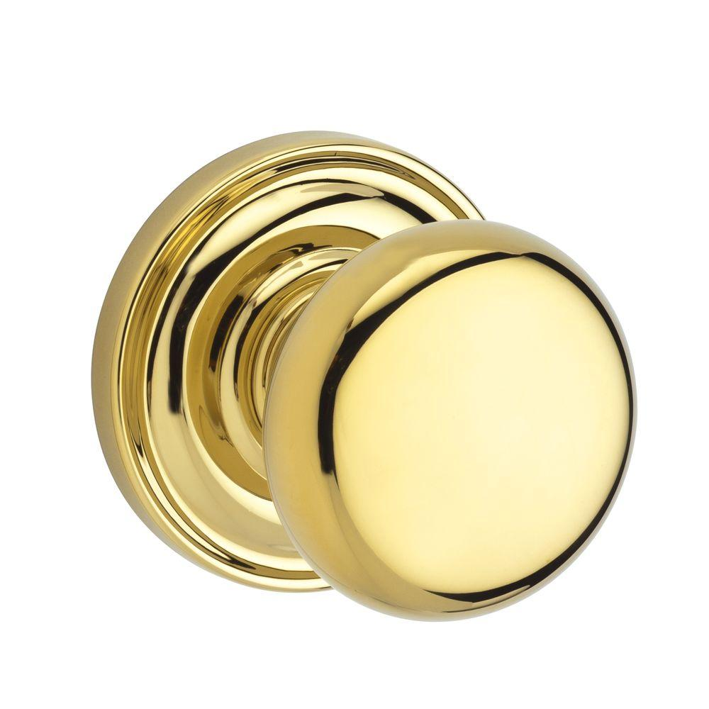 Reserve Round Lifetime Polished Brass Bed/Bath Knob with Traditional Round Rose