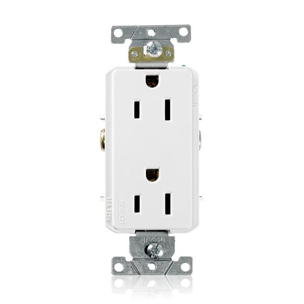 Decora Plus 15 Amp Industrial Grade Duplex Outlet, White