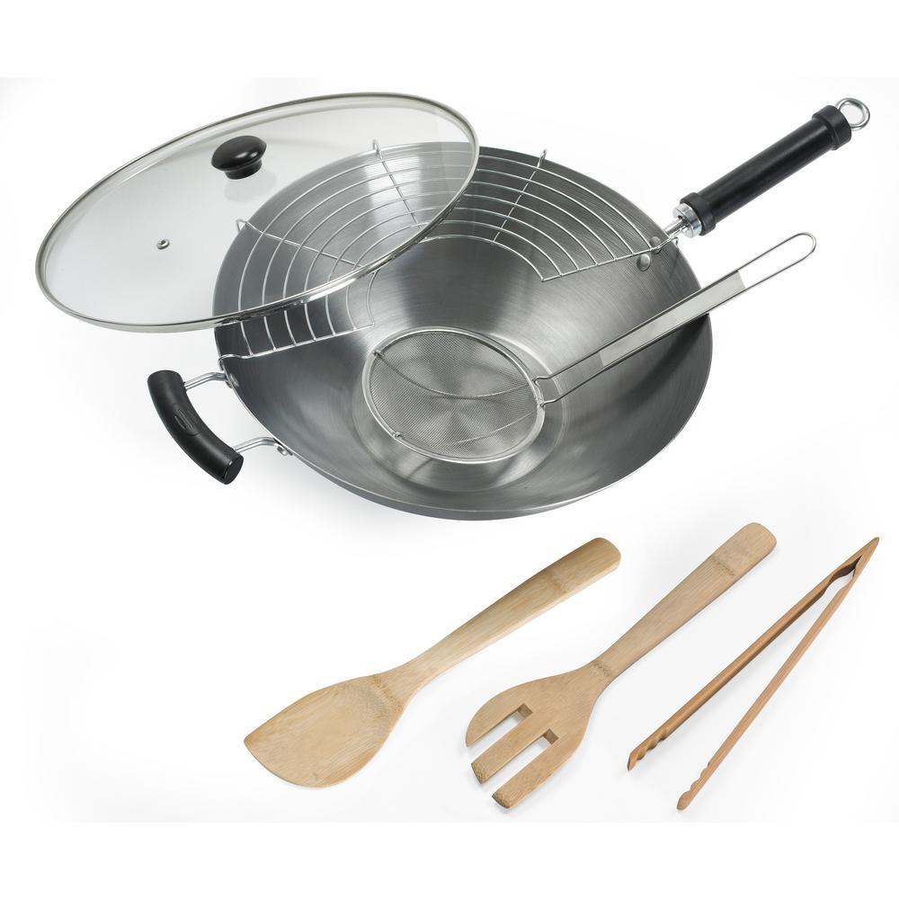 7-Piece Carbon Steel Non-Coated Asian Wok Set