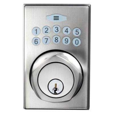 Single Cylinder Satin Nickel Square Spin-To-Lock Electronic Deadbolt