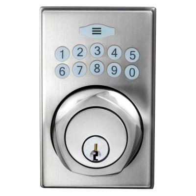 Satin Nickel Square Single Cylinder Spin-To-Lock Electronic Keypad Deadbolt
