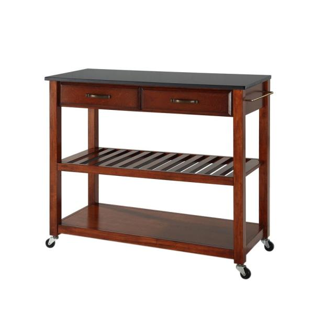 Crosley Cherry Kitchen Cart With Black Granite Top KF300544CH