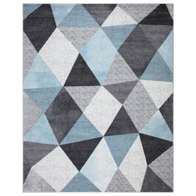 Dilaria Blue/Multi-Color 7 ft. 10 in. x 9 ft. 10 in. Geometric Hand Carved Area Rug