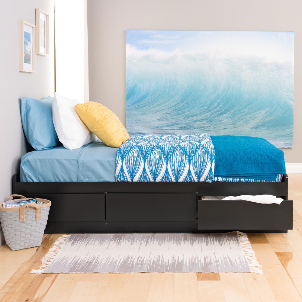 Prepac Twin Wood Storage Bed Black Sonoma