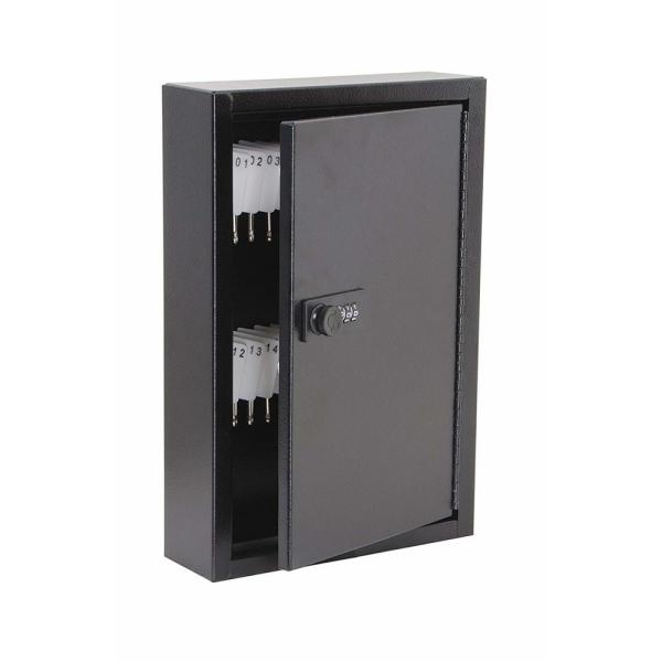 White HOMCOM 40 Key Steel Wall-Mounted Lockable Key Safe Lock Box Cabinet with Key Tags /& Programmable Pin Security