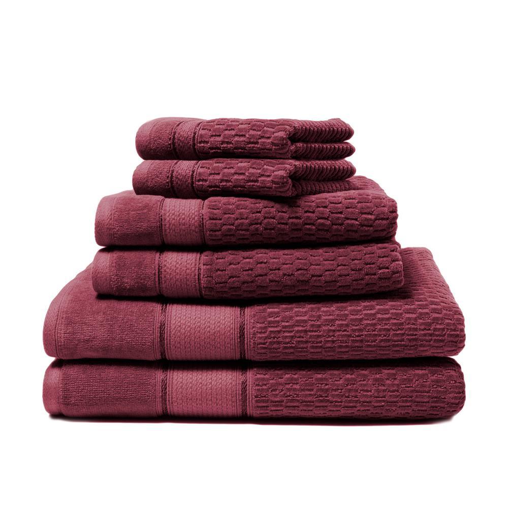 Royale 6-Piece 100% Turkish Cotton Bath Towel Set in Berry