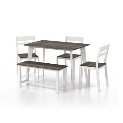 Miley Gray and White Dining Set (5-Piece)