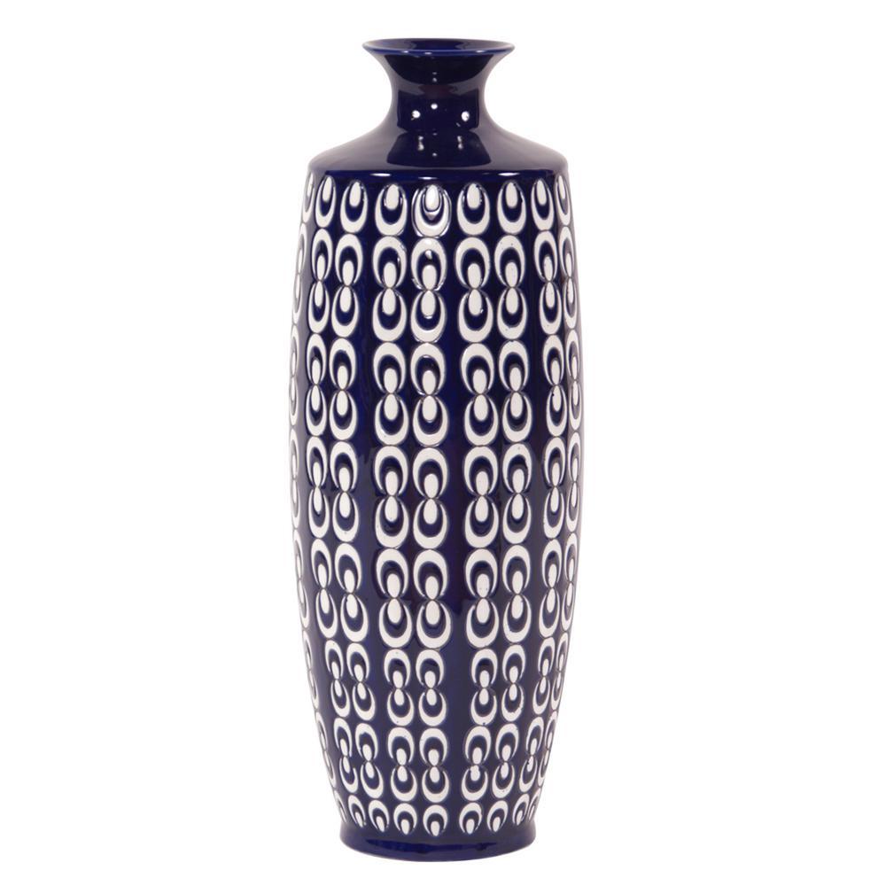 Navy Blue and White Textured Ceramic Vase - Large